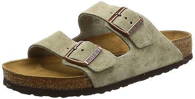 66147d9a7b64 Birkenstock Women s Arizona 2-Strap Suede Leather Natural Cork Sandals Taupe
