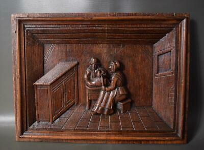 Antique French Architectural 19th.C Carved Oak Wood Wall Panel of Breton Peasant