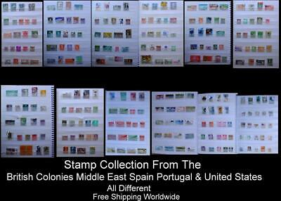 Stamp Collection British Colonies ME Israel Morocco Lebanon, Spain Portugal & US