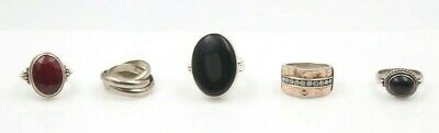 Lot Of Five Vintage Sterling Silver And Gemstone Cocktail Rings No Res #4318-6