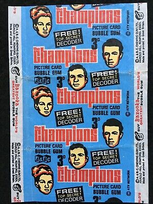 A&BC 1969 Vintage The Champions 3D Gum Card Wax Wrapper T.V. Series - FCC