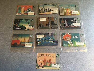 Lot of 10 (2014) Complete Set Starbucks City Card SEATTLE CHICAGO LOS ANGELES