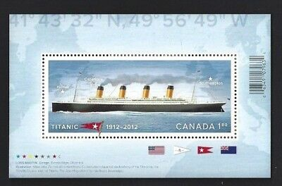 Canada   #2535   TITANIC - SOUVENIR SHEET     VF-NH   New 2012  Pristine Issue