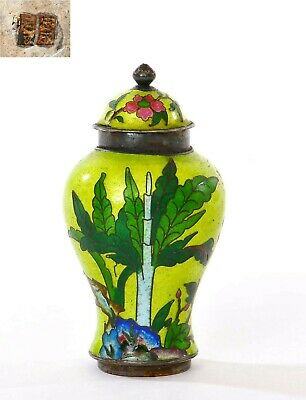 1930's Chinese Sterling Silver Enamel Cover Jar Vase Snuff Bottle Marked