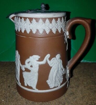 Antique Dudson Brothers Brown Stoneware Jug Dancing Muses Staffordshire