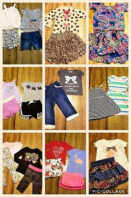 Lot Of 27 Pc Girls Sz 4/5 Spring Summer Clothes Outfits