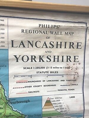 Vintage George Philip & Son Ltd ,1967 Map Of Lancashire And Yorkshire