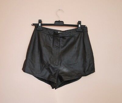 VINTAGE BROWN LEATHER HOT PANTS SHORTS 60s 70s S/ M