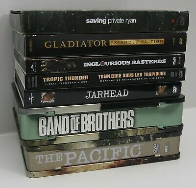 7 War Movie Shows Lot Band Of Brothers Pacific Saving Private Ryan Gladiator Dvd
