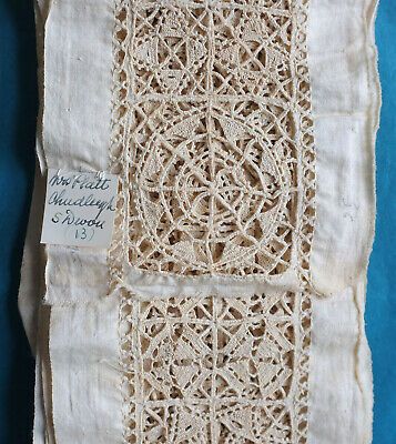 3.5 metres antique reticella style needle lace insertion - provenance.
