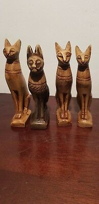 Rare Antique Ancient Egyptian 4 Statues God Bastet protection joy 1740-1650BC