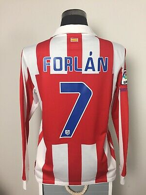 FORLAN #7 Atletico Madrid Long Sleeve Home Football Shirt Jersey 2010/11 (L)