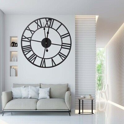 Large Round Black Metal Skeleton Roman Numeral Indoor Home Wall Clock 40/60/80cm