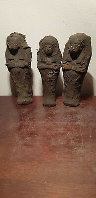 Rare Antique Ancient Egyptian 3 Ushabtis work Servant Minions Daed1640-1580BC
