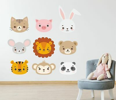 Pastel Cute Animal Faces Wall Stickers Decals Nursery Children's Bedroom 9 pack