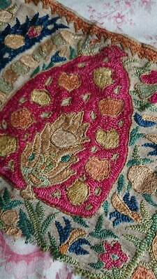 SUBLIME ANTIQUE FRENCH EMBROIDERED SILK & FINE LINEN PANEL EARLY 1800s