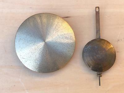 2 x VINTAGE ANTIQUE BRASS WALL MANTLE MANTEL CLOCK PENDULUM & BOB