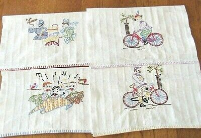 Set of 4 Embroidered Man,Woman,Barber Quartet,White Cotton Hand Towels 4 Guests