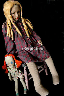 """Antique,Haunted Doll? Gretchen 1920's 39"""" tall. Dean's Rag Book doll ?"""