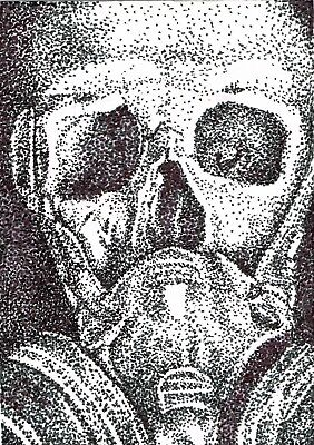 """Original Art- ACEO 2.5"""" x 3.5"""" - Stippling - Skull - Pen and Ink - S. White"""