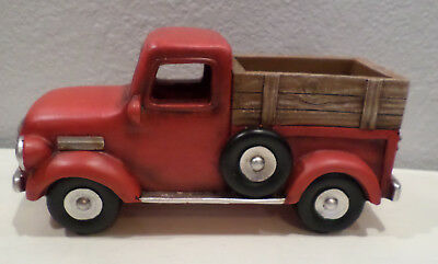 Old Red Truck With Christmas Tree In Back.Red Old Style Truck Christmas Tree In Back Winter Home Decor