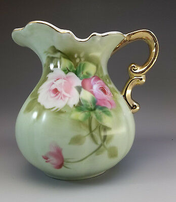 Hand Painted Lefton China Porcelain Pitcher Pink Roses Green 4579