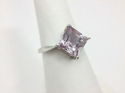 Modern Princess Cut Pale Purple Pink Cz Solitaire Ring Size 6 Sterling Silver