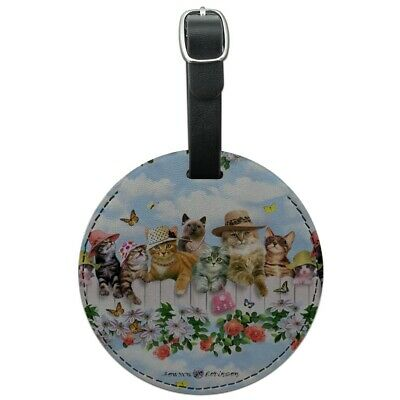 Cats in Hats Club Pattern Round Leather Luggage Card Suitcase Carry-On ID Tag
