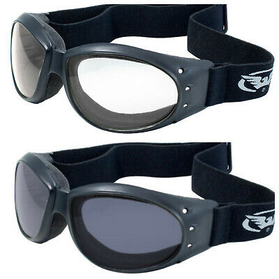 (2) Global Vision Eliminator Padded Motorcycle Riding ATV Goggles SMOKE & CLEAR