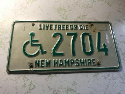 Vintage New Hampshire Handicapped Wheelchair License Plate 2704 Live Free or Die
