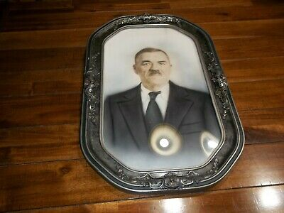 Vintage Bubble Convex Glass Oval Picture Frame w/Picture Lot N