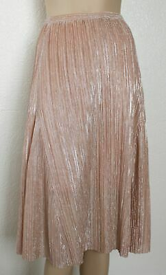 b73c0e0a2 Anthropologie MAEVE Ambra Pleated Metallic Skirt Rose Pink Silver, Size  Large L