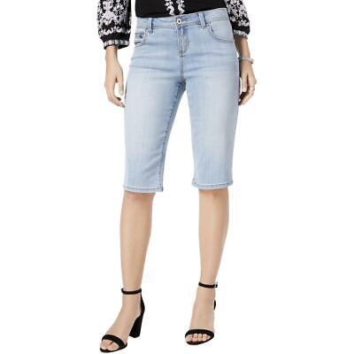 3029289783 INC Womens Blue Denim Flat Front Regular Fit Bermuda Shorts 0 BHFO 1826