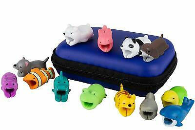 13 Pcs PLUS Premium Case - Cute Animal Bite Cable Protector Variety Set For iPho