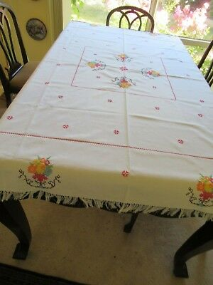 Vintage European handmade LARGE TABLECLOTH & 4 NAPKINS Cross-stitch on all Unuse