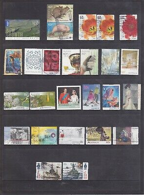 2009-2011 Australian-105 used stamps including International Post and High Value