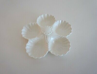 Vintage Spode Velamour Cream Serving / Candy / Seafood Dish Handle 5 Scallop