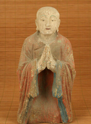 chinese old wood hand carved buddha kneel buddha statue figure collectable