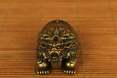 chinese old copper hand carved turtle dragon statue netsuke collectable feng