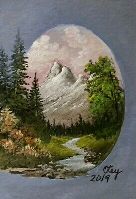 Aceo, acrylic, landscape, Majestic Mountain In Oval by Donna Otey