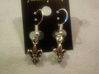 Flor de Liz earrings, antique silver with 925 sterling silver hooks, stamped