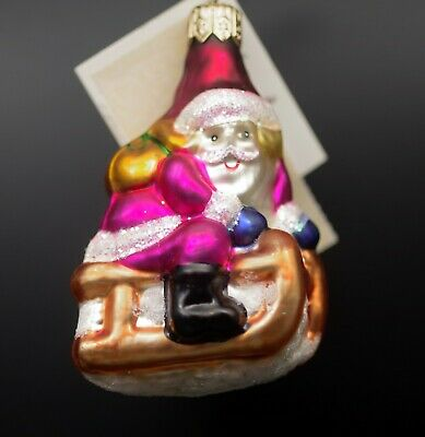 Radko Ornament Slip N Slide #974490 Santa Sled NEW WITH TAG R35