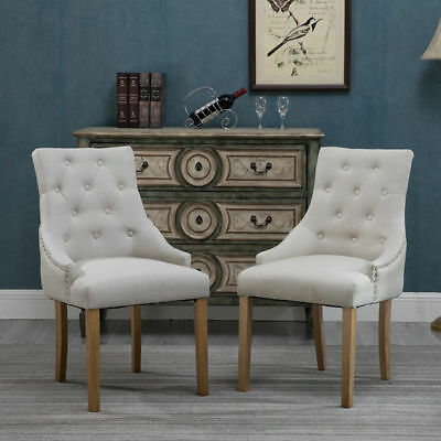 2xCurved Dining Chair Button Tufted Fabric Upholstered Accent Lounge Chair Beige