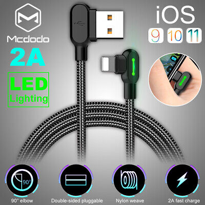 MCDODO 90 Degree Right Angle LED Lightning USB Fast Data Charger Cable For Apple