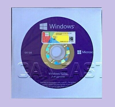 Microsoft Windows 10 PRO Professional 64bit DVD + COA Product Key + Hardware