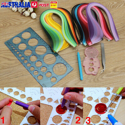 12X Quilling Paper Rolling Kit Slotted Tools Strips Tweezer Ruler DIY Crafts AU