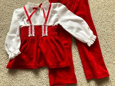 Vintage Baby/Toddler Girl Frilly Valentine Velour 3Pc Outfit Smock Top Pants USA
