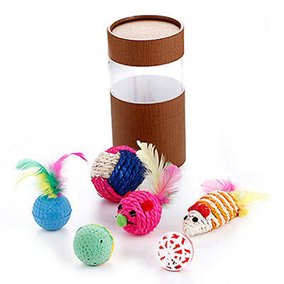 Cat Kitten Pet Sisal Rope Weave Ball Feather Teaser Play Chewing Catch Toy Set