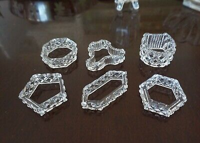 6 Vintage Crystal Napkin Rings Excellent Pentagon Hexagon Octagon Bell Horseshoe