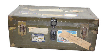 Antique 30s Steampunk Steamer Leather Handled Steel Travel Trunk Chest Green